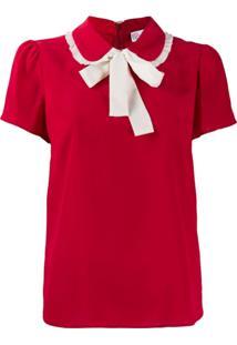 Red Valentino Collar Bow Top - Vermelho