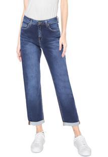 Calça Jeans Calvin Klein Jeans Reta Cropped Estonada Azul