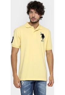 Camisa Polo U.S. Polo Assn Piquet Bordado Masculina - Masculino-Amarelo