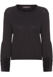 Blusa Feminina Tricot Cropped Black - Preto