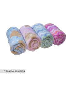 Cobertor Ursinho Em Microfibra- Azul & Marrom Claro-Camesa