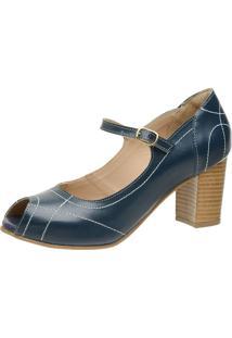 Sandália Retrô Peep Toe Touro Boots Feminina Azul - Kanui