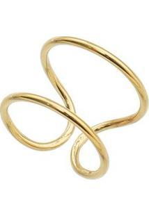 Anel Geométrico Banhado A Ouro- Dourado- Regulável