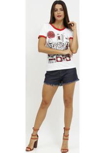 Camiseta Com Telefone- Branca & Vermelha- Coca-Colacoca-Cola