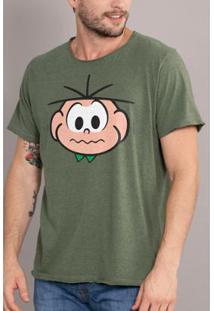 Camiseta Bandup Turma Da Mônica Face Cebolinha - Masculino-Verde