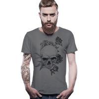 43ece60199 Camiseta Joss Estonada Corte À Fio Caveira Florida - Chumbo