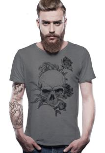 Camiseta Joss Estonada Corte À Fio Caveira Florida - Chumbo