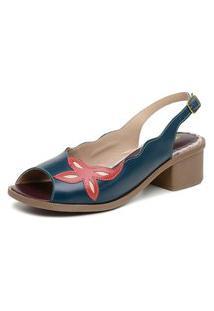 Sandalia Comfort Miuzzi Ref 2811 Azul - Rubi - Perola