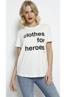 """Blusa """"Clothes For Heroes""""- Branca & Preta- Forumforum"""
