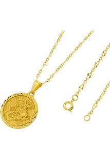 Pingente São Jorge Com Corrente Francesa Folheado A Ouro 18K - Unissex-Dourado
