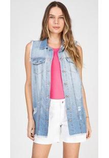 Colete Bloom Jeans Boyfriend Destroyed Delavê Feminina - Feminino-Azul Claro