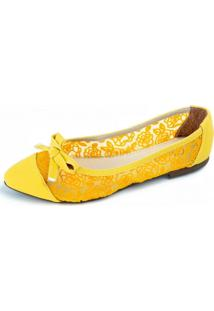 Sapatilha Amarela Rendada Megachic