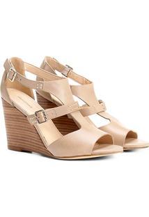 Sandália Anabela Couro Shoestock Fachete Feminina - Feminino-Bege