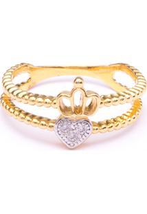 Anel Boca Santa Coroa Do Amor Ouro Amarelo - Dourado - Feminino - Dafiti