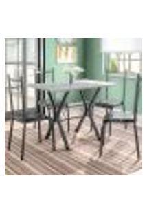 Conjunto De Mesa Miame Com 4 Cadeiras Lisboa Preto E Preto Floral