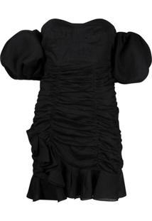 Isabel Marant Vestido Franzido Ombro A Ombro - Preto