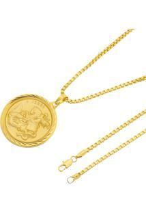 Pingente São Jorge Corrente Veneziana 3Mm Tudo Jóias Folheada A Ouro 18K Dourada