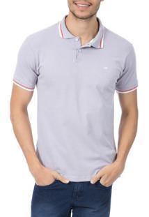 Camisa Polo Masculina Lilás Com Detalhe - Xg
