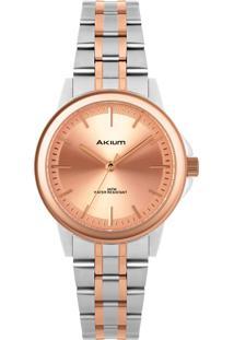 Relógio Akium Feminino Aço Prateado E Rosé - Tml7088N1C