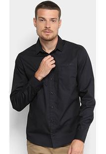 Camisa Slim Manga Longa Colcci Básica Masculina - Masculino-Preto