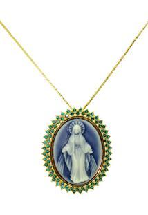 Gargantilha Infine Pingente Resinado Nossa Senhora Das Graã§As Com Zircã´Nia Verde - Dourado - Feminino - Dafiti