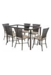 Jogo De Jantar 6 Cadeiras Turquia Tabaco A12 E 1 Mesa Retangular Sem Tampo Ideal Para Área Externa Coberta