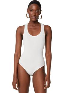 Body Amaro Tricot Bã¡Sico Nadador Off-White - Branco - Feminino - Dafiti