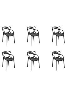 Kit 06 Cadeiras Allegra Preta Rivatti