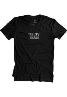 Camiseta Stoned Longline Gold The Life Snake Preto