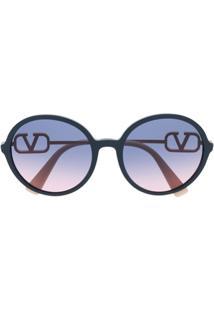 Valentino Eyewear Óculos De Sol Redondo - Azul