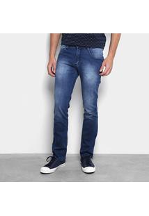 Calça Jeans Slim Biotipo Estonada Masculina - Masculino-Azul Escuro