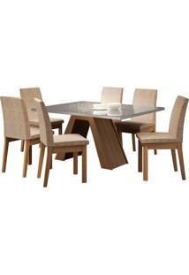Sala De Jantar Madesa Pietra Mesa Tampo De Vidro Com 6 Cadeiras