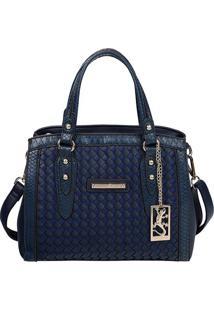 Bolsa Trançada Com Tag - Azul - 23X28X12Cmfellipe Krein