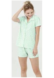 Pijama Feminino Estampa Coração Manga Curta Marisa