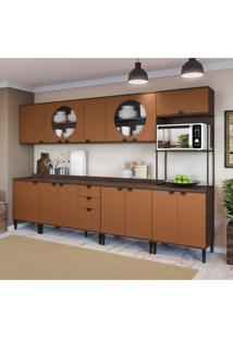 Cozinha Compacta Deli 14 Pt 3 Gv Jacarandá E Terracota