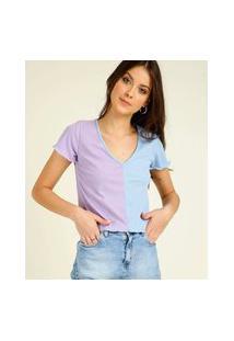 Blusa Feminina Canelada Bicolor Manga Curta