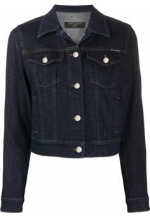 Dolce & Gabbana Jaqueta Jeans Cropped Com Abotoamento - Azul