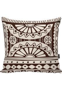 Capa Para Almofada African- Off White & Marrom Escuro