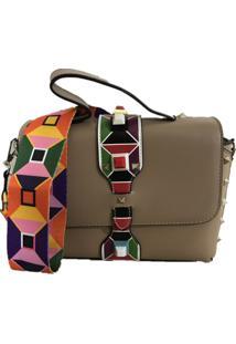 Bolsa Sys Fashion Casual Alça Colorida 8306 Caqui