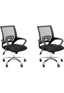 Conjunto Com 2 Cadeiras De Escritório Secretária Giratórias Java Preto