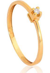 Anel Solitário De Ouro 18K Diamante 3 Pts To Love