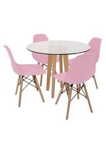 Conjunto Mesa De Jantar Em Vidro 90Cm Com Base Vértice + 4 Cadeiras Eiffel - Rosa