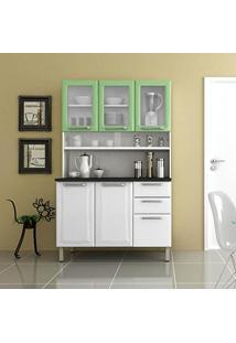 Armário Para Cozinha 3 Portas De Vidro Regina Itatiaia I3Vg2-120 Branco/Verde Claro