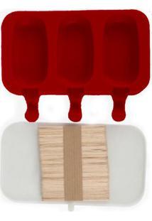 Forma De Picolé Em Silicone 3 Cavidades E 50 Palitos Vermelho
