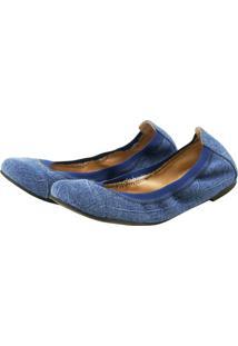 Sapatilha Agatha Elástico Jeans Azul