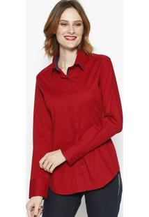 Camisa Com Recortes & Botãµes- Vermelha & Azul- Dbz Jdbz Jeans