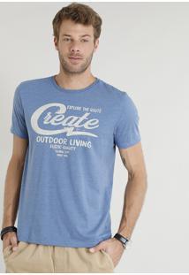 """Camiseta Masculina """"Create"""" Manga Curta Gola Careca Azul"""