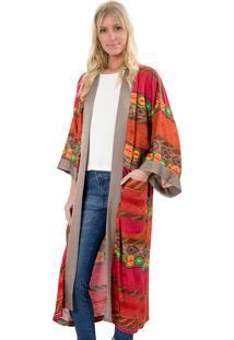 Kimono Lucy In The Sky Com Bolsos Ikat Laranja