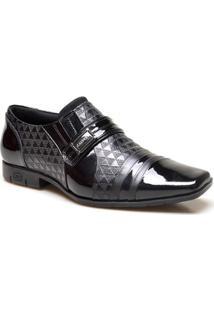 Sapato Social Calvest 360 Em Couro Textura Geometrica Masculino - Masculino-Preto
