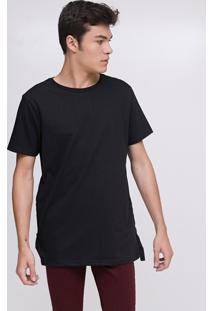 Camiseta Alongada Com Detalhe Em Fita